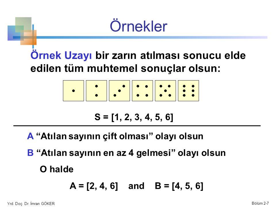Örnekler Örnek Uzayı bir zarın atılması sonucu elde edilen tüm muhtemel sonuçlar olsun: S = [1, 2, 3, 4, 5, 6]